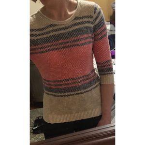 Stitchfix -made in USA - Orange/Navy/Cream Sweater